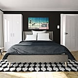 "Majesty Queen Linen Bed, Tufted Design and Slanted Wooden Legs, Grey Linen ($329) Retro Collection Stockings Shag Area Rug (7'6"" x 9'6"") in Black ($525)"
