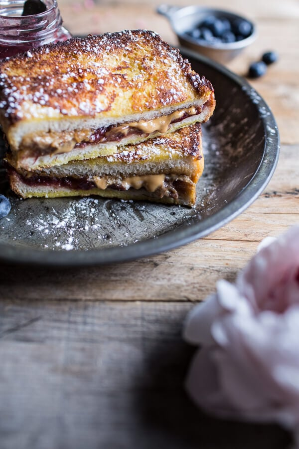 Peanut Butter and Rhubarb Jelly French Toast Sandwich