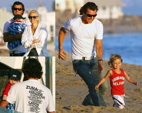 Photos of Gwen Stefani, Gavin Rossdale, Kingston Rossdale, Zuma Rossdale at Malibu Beach