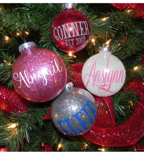 Glitter Name Ball Personalized Christmas Ornaments For