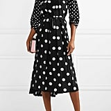 Marc Jacobs Lace Trimmed Pleated Polka Dot Silk Crepe De Chine Midi Dress