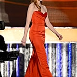 Jessica Chastain wore a red Alexander McQueen gown.