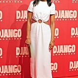 Kerry stepped out in a Winter white cutout Prada dress for the Django Unchained's premiere in Rome, completing the look with pointed-toe pumps, a sleek hairdo, and a sweep of red lipstick. She also added a slim green clutch and an Ippolita cocktail ring.