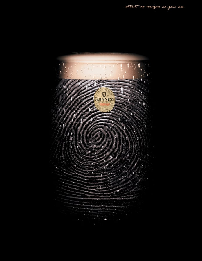 """This fingerprint ad reads: """"Stout as unique as you are."""""""