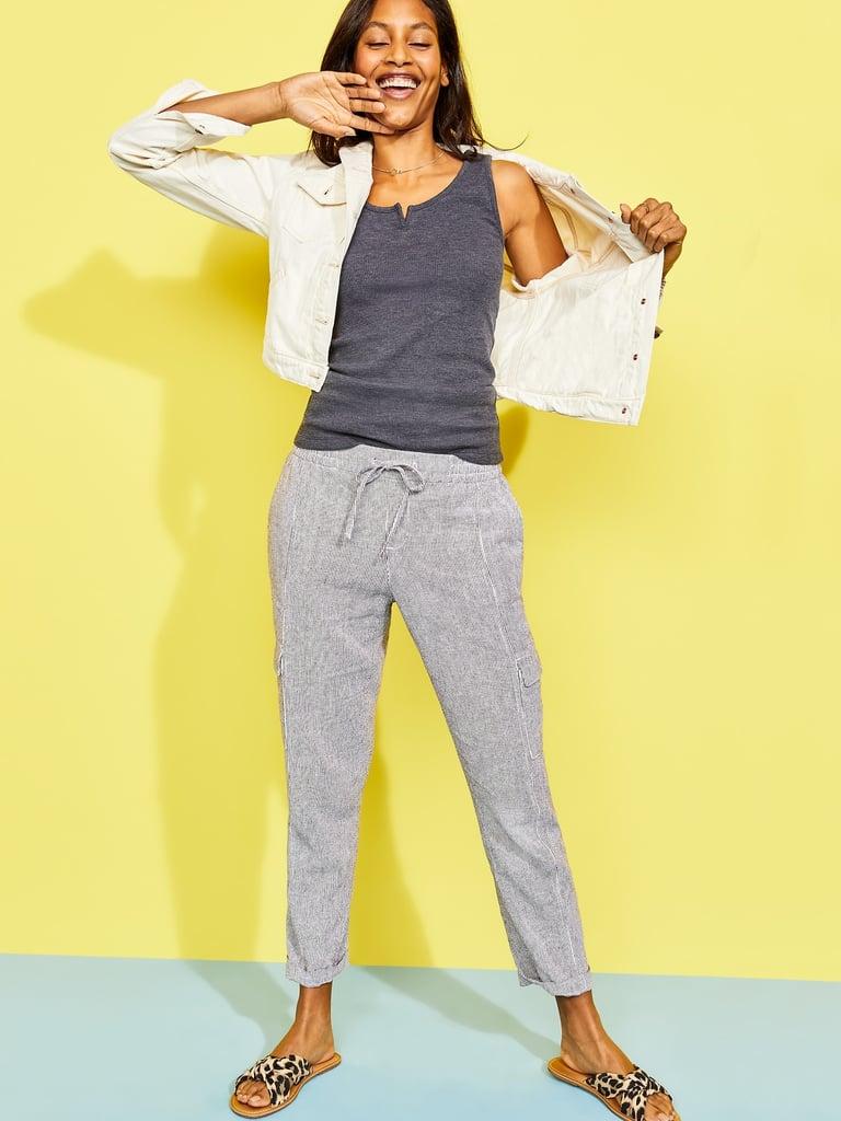 Mid-Rise Pinstriped Linen-Blend Cargo Pants