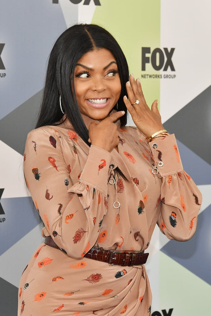 "Taraji P. Henson flashed her stunning new engagement ring — as well as a huge smile to go along with it — while on the red carpet at the Fox Upfronts event in NYC on Monday. The 47-year-old Empire star was beaming as she posed for photos with her gorgeous new accessory. Earlier that day, Taraji announced her engagement to former NFL player Kelvin Hayden in an Instagram post. ""I said yes y'all!!!"" she captioned a snap of her ring. ""He started with the Cartier love bracelet BUT that was my #Mothersday gift and then he dropped to his knee and I almost passed out!!!""      Related:                                                                                                           Taraji P. Henson Confirms Her 2-Year Romance: ""I'm Very, Very Happy!""               Taraji and Kelvin were first spotted together on the beach in Miami back in December 2015. Kelvin played in the NFL until 2014, when he retired due to an injury. The 34-year-old owns a gym in Chicago with fellow former football player Jason Davis. Keep reading to see more photos of a jubilant Taraji with her new rock."
