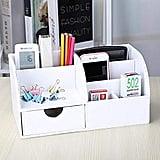 KINGFOM Multifunctional PU Leather Office Desktop Organizer