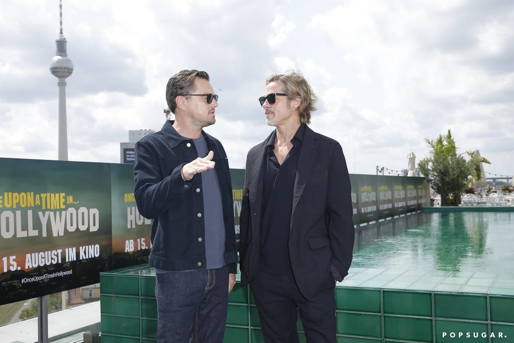 Leonardo DiCaprio and Brad Pitt at the Once Upon a Time in Hollywood photocall in Berlin.