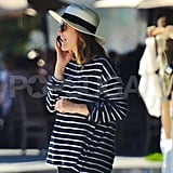 Drew Barrymore happily chatted on her cell phone in LA.
