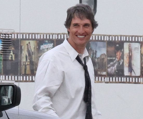 Slide Picture of Matthew McConaughey on Set of Bernie in Austin, Texas