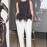 Bérénice Marlohe looked every bit the French sophisticate at the Skyfall Paris photocall wearing an Alexander McQueen ensemble paired with Sergio Rossi pumps.