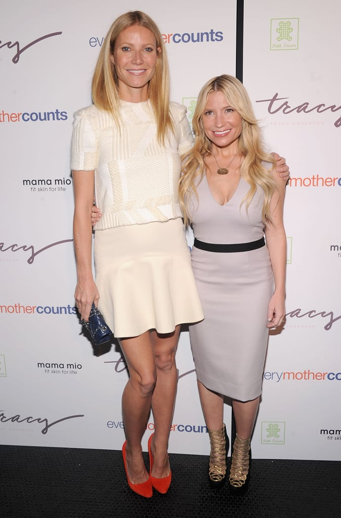 Gwyneth Paltrow stepped out in shades of white today for an event in NYC. It's been an exciting few weeks for Gwyneth, who turned 40 on Sept. 27. She's been spotted all over Europe in recent days celebrating the milestone with Chris Martin and their kids, Apple and Moses. They partied on vacation in Italy before Gwyneth hosted a star-studded bash in London on Wednesday with close friends like Hugh Grant, Stella McCartney, and Mario Testino. In addition to toasting her birthday, it's rumored Gwyneth is also in talks to produce a musical about '80s group The Go-Go's.  Gwyneth's back in the States for now to lend her support to a close pal, trainer Tracy Anderson. Tracy's credited for sculpting Gwyneth's famous frame —Tracy even created one-of-a-kind fitness routines Gwyneth could do while shooting on location or traveling on the road with Chris. Tracy recently gave birth to her second child and is now promoting a new series of workouts created for women who are expecting, appropriately titled The Pregnancy Project.
