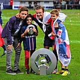 David Beckham brought his boys, Brooklyn, Romeo, and Cruz, onto the Paris Saint-Germain field for his last home game on Saturday.