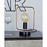 Rose Gold Square Frame Table Lamp with Bulb