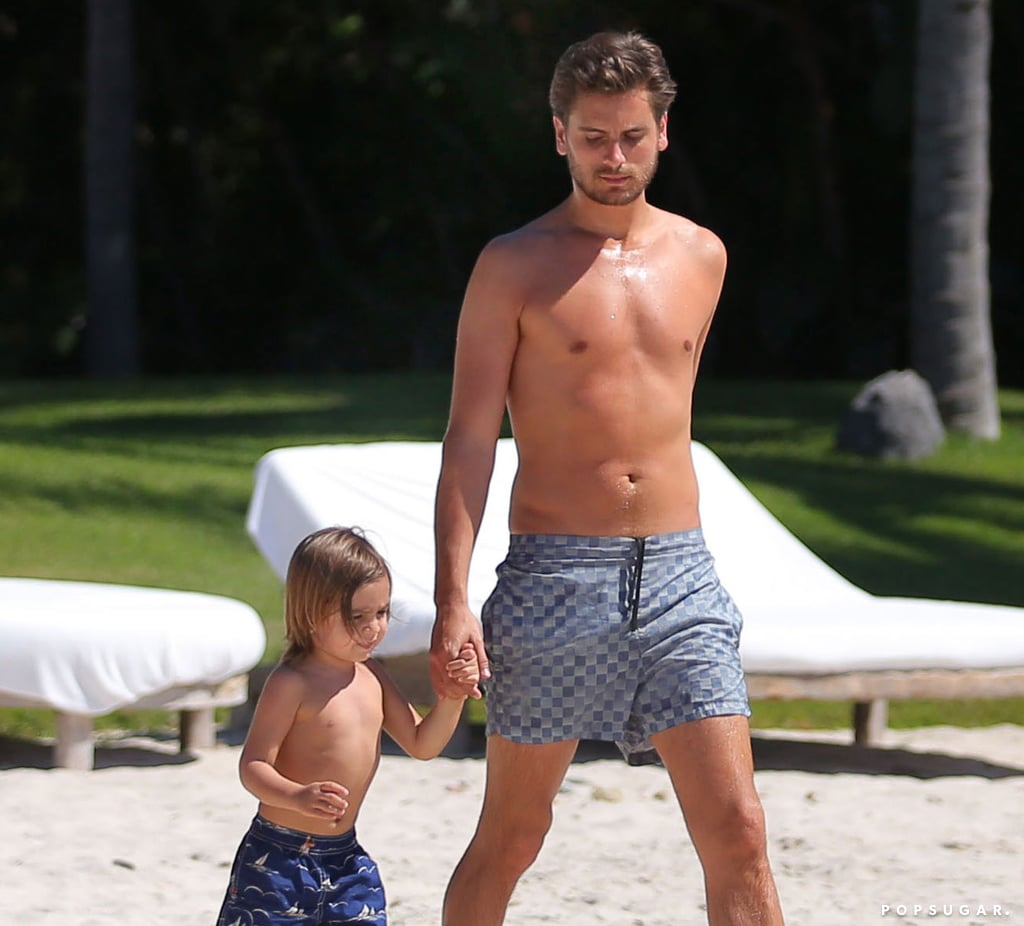 Scott Disick went shirtless on the beach with Mason.