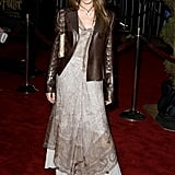 For the premiere of Harry Potter and the Chamber of Secrets in 2002, Emma rocked a brown leather jacket and dress combination.