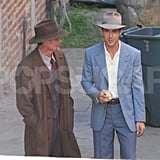 Ryan Gosling looked happy to be filming The Gangster Squad in LA.