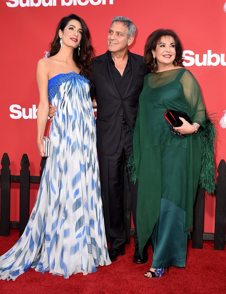 George and Amal Clooney With Amal's Mum on Red Carpet