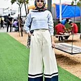 Pair a Breezy Long-Sleeved Top With Wide-Leg Pants