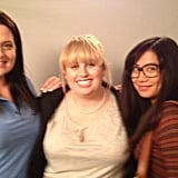 """Rebel Wilson posed with her two """"new best friends"""" for Super Fun Night. Source: Twitter user RebelWilson"""