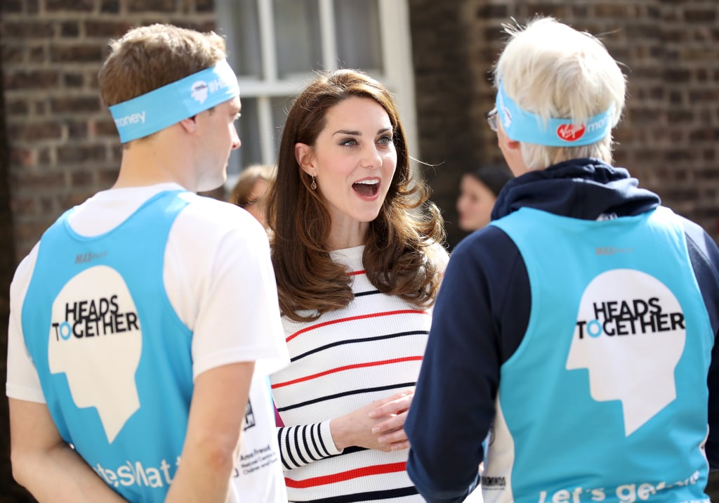 "A few days after celebrating Easter Sunday with the queen, Kate Middleton met with a group of runners from Team Heads Together in London on Wednesday. The duchess kept things casual in a striped shirt and Superga sneakers as she chatted and posed for photos with the team, who are gearing up to run the London Marathon this Sunday. While Kate didn't join them for a jog this time around, she was all smiles while mingling with the group and affixing a Heads Together headband onto a post box. Heads Together is spearheaded by Kate, Prince William, and Prince Harry in partnership with eight leading mental health charities that are tackling the stigma of mental health issues and providing help for those who suffer from them. Earlier this week, Prince William shared a video of himself FaceTiming with Lady Gaga to discuss the importance of mental health awareness, and Harry opened up about being ""very close to a mental breakdown"" after the death of his mother, Princess Diana.      Related:                                                                                                           30 Sweet, Heartbreaking Things William and Harry Have Said About Princess Diana               In a little over a week, Kate and William will be ringing in their sixth wedding anniversary. It's not clear what they'll be doing to commemorate the big day, but judging by their very chill past celebrations it'll probably be something pretty low-key. Maybe a day in Hyde Park with George and Charlotte or a night of dinner and dancing?"