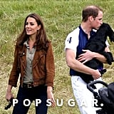 Kate Middleton attended a charity polo match with Prince William as he gave Lupo some love.