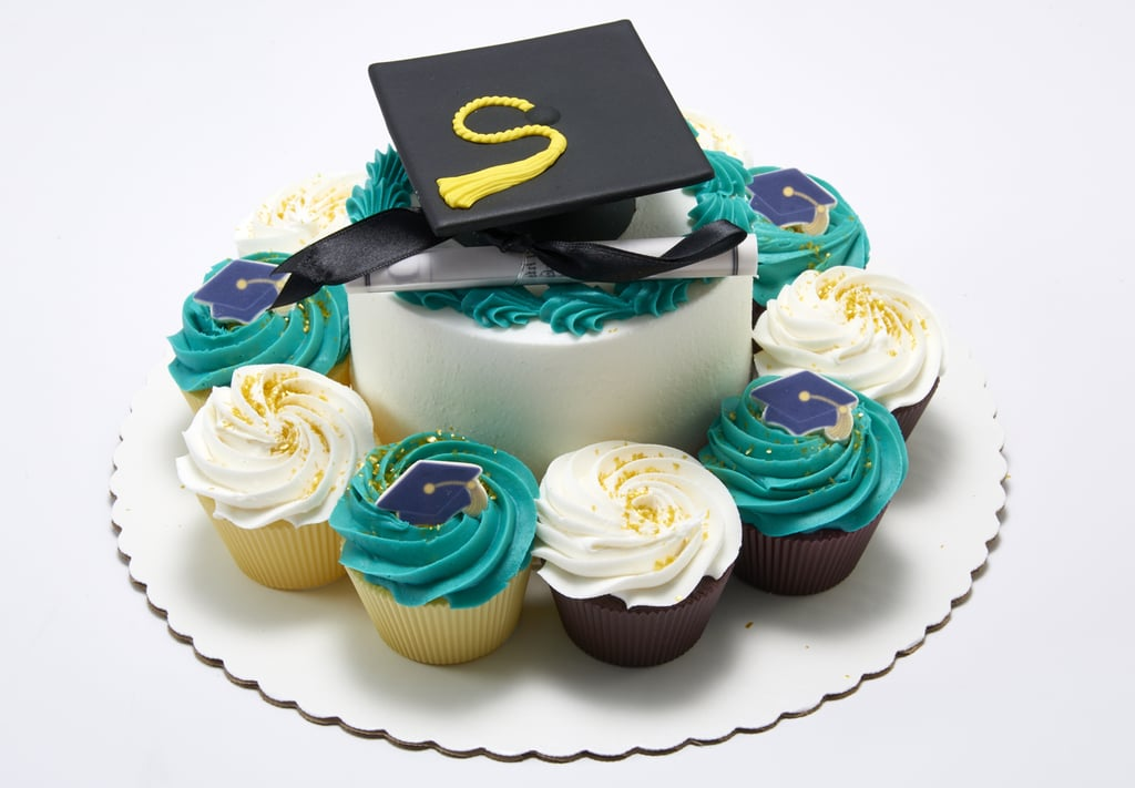 """Graduation """"Five Dimes"""" Cake (5-Inch Cake With 10 Cupcakes)"""
