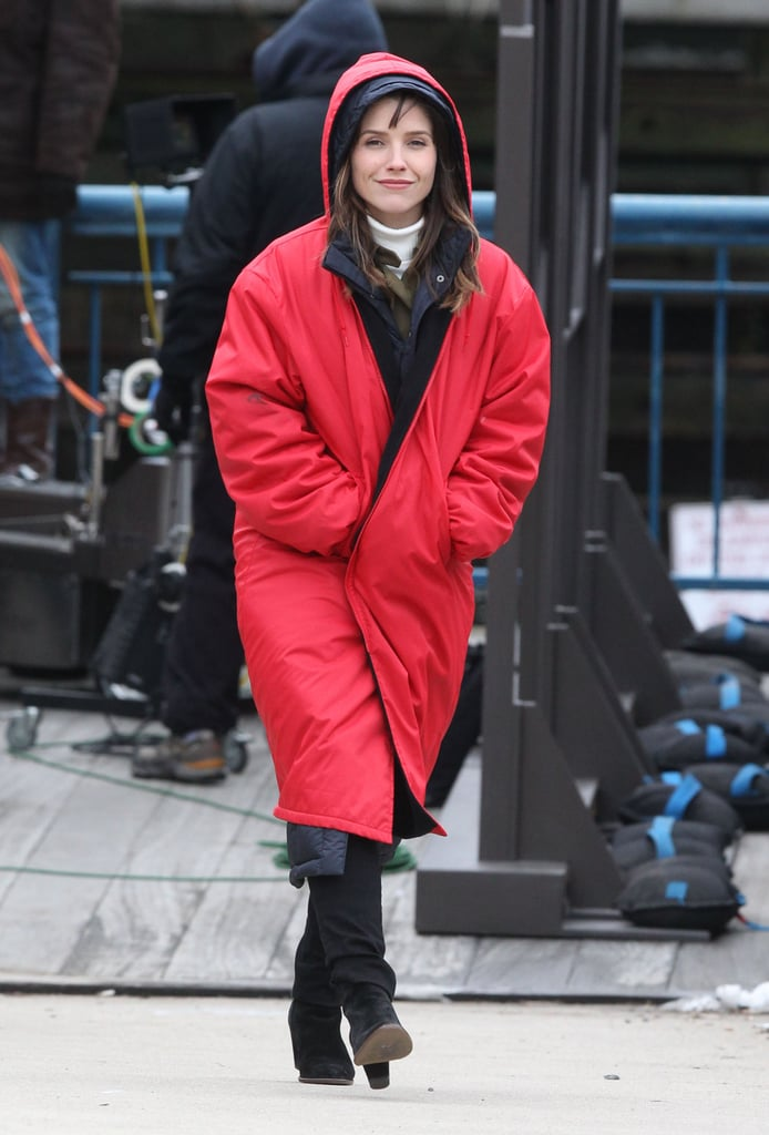 Sophia Bush bundled up in a heavy jacket and hood in Boston while filming scenes for Hatfields & McCoys on Monday.