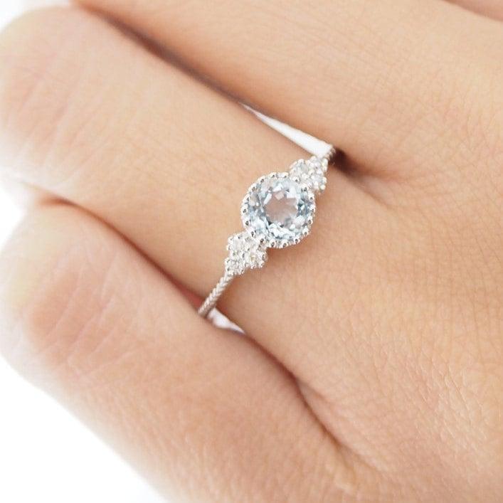 Antique Aquamarine Engagement Ring