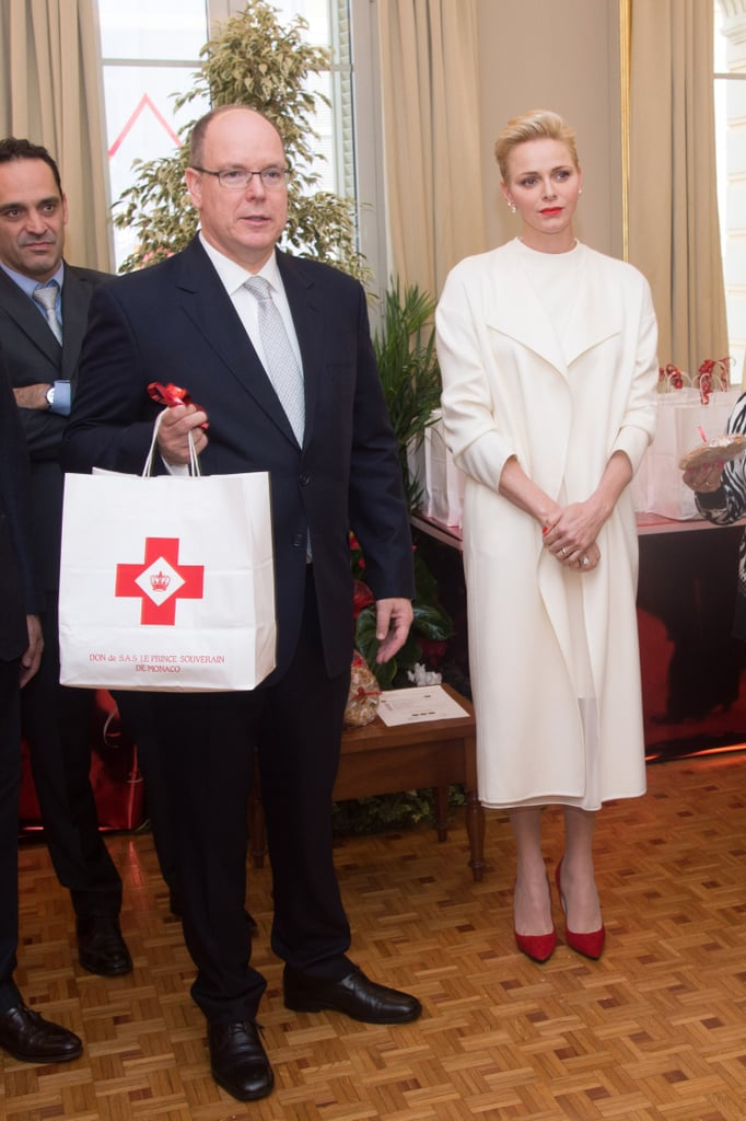 Princess Charlene White Dress at Red Cross Charity Event