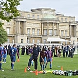The gardens of Buckingham Palace were transformed into a soccer field with training areas.