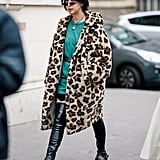 Style Your Leopard-Print Coat With: A Bright Minidress and Over-the-Knee Boots