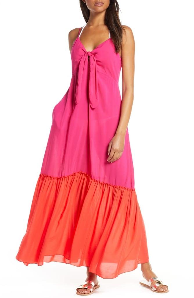 Elan Colorblock Cover-Up Maxi Dress