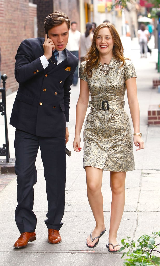 Leighton Meester cracked a smile during a stroll down a Manhattan street with co-star Ed Westwick in June 2009.
