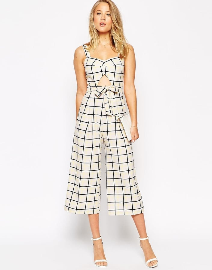 ASOS Collection Jumpsuit in Grid Print With Cutout Detail ($90)