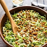 Caesar Shaved Brussels Sprouts Salad With Crispy Chickpea Croutons