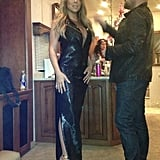Mariah Carey showed off a slinky black Tom Ford number. Source: Twitter user MariahCarey