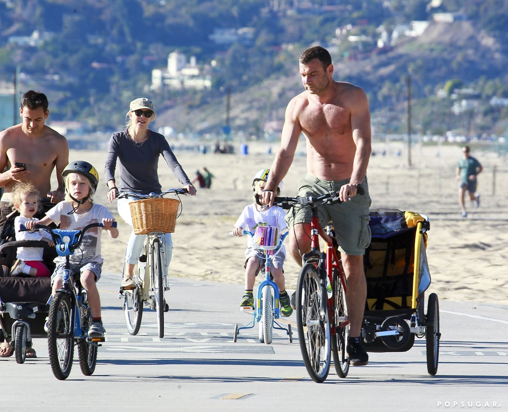 Naomi Watts and Liev Schreiber made the most of crisp weather in LA on Saturday, hitting the pavement for a family bike ride. The foursome has been hanging on the West Coast since the beginning of the year. They kicked January off with an award season stop at the Golden Globes, where Liev was nominated for best actor for his work in Ray Donovan. Since then, the duo have been a bit more casual, with Naomi meeting up with pal Reese Witherspoon for a yoga class and later heading to Home Depot to pick up plants. Liev will return to his small-screen hit when season two airs later this year.