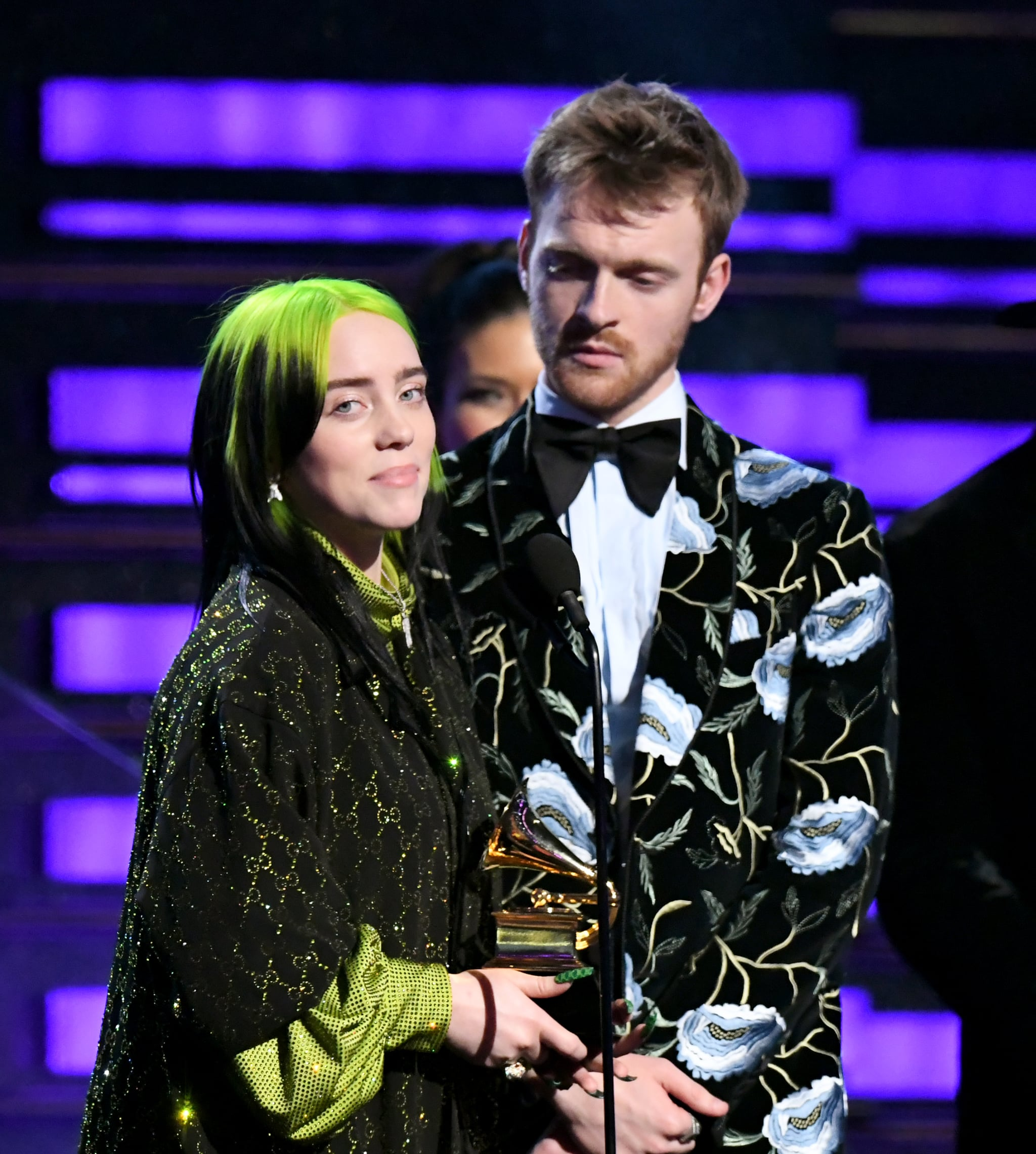 LOS ANGELES, CALIFORNIA - JANUARY 26: (L-R) Billie Eilish and Finneas O'Connell accept Album of the Year for