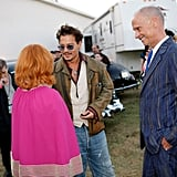 Johnny Depp chatted with Linda Ramone and John Waters.
