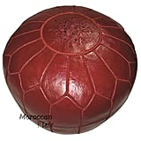 Moroccan Flair Leather Moroccan Pouf in Burgundy
