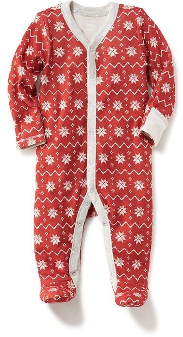 Holiday Print Footed Sleeper