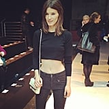 Hanneli Mustaparta bared her belly at the Diesel Black Gold show. Source: Twitter user HanneliM