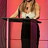 Jennifer Aniston spoke on stage at the awards.