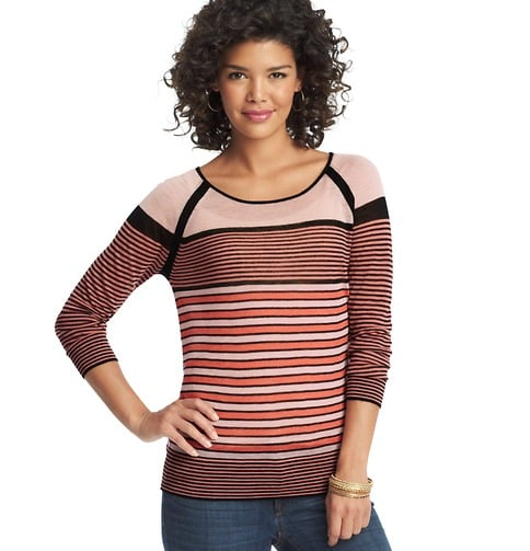 We'll wear this Loft striped sheer knit baseball tee ($50) with jeans or tucked into our favorite pencil skirts for a dressier effect.