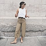 A White Top, Khaki Trousers, and Beige Flats