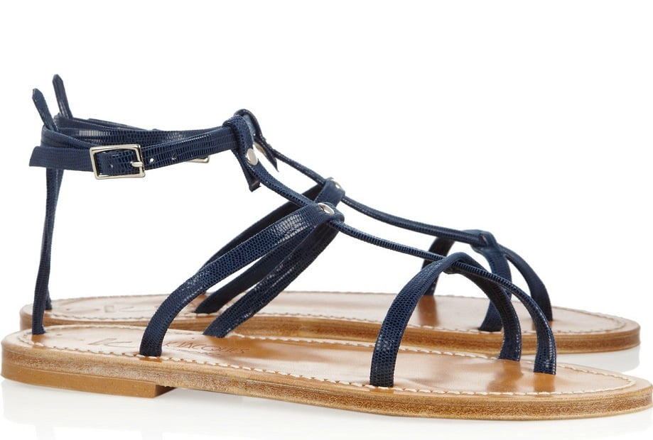 """If open-toed sandals are a """"go"""" at your office, try on this sophisticated pair with a knee-length floral-printed chiffon dress. K Jacques St Tropez Gina Patent Leather Sandals ($260)"""