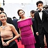 Cho Yeo-jeong, Park So-dam, and Choi Woo-shik at the 2020 Oscars