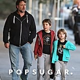 Russell Crowe took his sons, Tennyson and Charles, to get ice cream on Monday in Sydney, Australia.