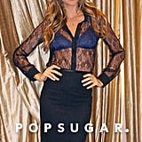 Gisele Bundchen struck a pose in a sheer top.